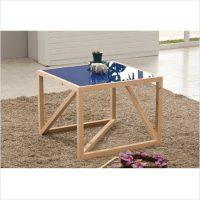 히노끼 강화유리 테이블 (블루)