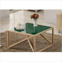 히노끼 강화유리 테이블 (그린)