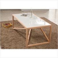 히노끼 강화유리 테이블 (화이트) 대